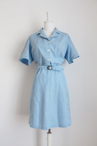 VINTAGE PASTEL BLUE BELTED DAY DRESS - SIZE 14