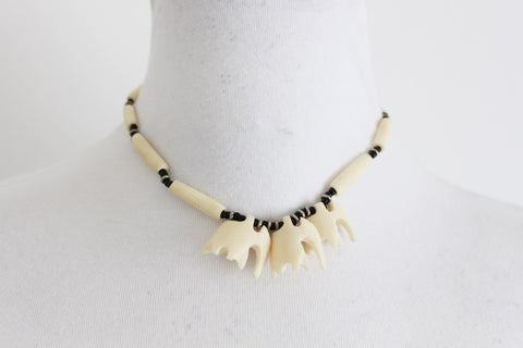 VINTAGE GENUINE BONE CARVED ELEPHANT NECKLACE