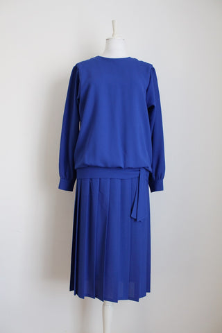 VINTAGE ROYAL BLUE PLEATED DROP WAIST DRESS - SIZE 12