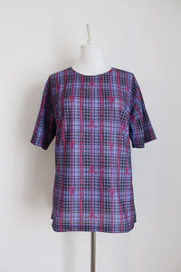 VINTAGE PLAID CHAIN PRINT PURPLE PINK BLOUSE - SIZE 14