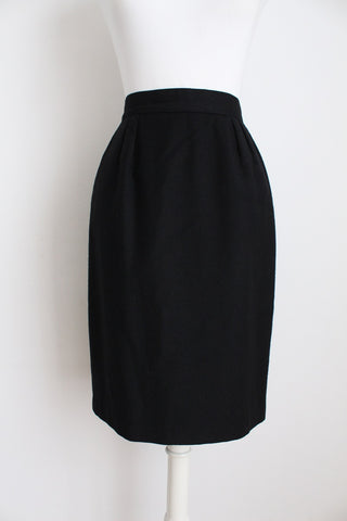 VINTAGE BLACK WOOL FITTED PENCIL SKIRT - SIZE 6