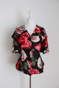 VINTAGE ROSE PRINT BLACK RED OVERSIZE COLLAR BLOUSE - SIZE 14