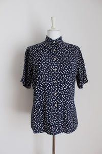 *PRINGLE* VINTAGE BOW PRINT NAVY WHITE BLOUSE - SIZE 16