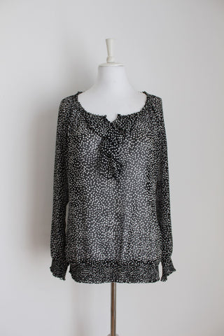 *ESPRIT* BLACK WHITE POLKA DOT TUNIC BLOUSE - SIZE 14