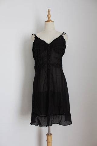 COTTON VOILE SHEER SMOCKED COVER-UP DRESS - SIZE 8