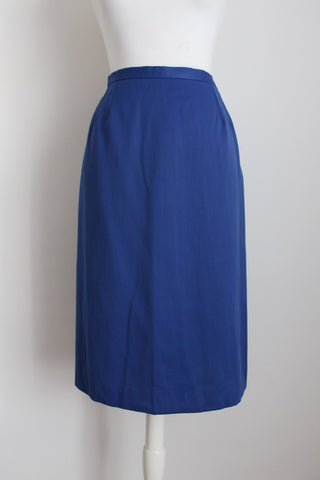 VINTAGE ROYAL BLUE PENCIL MIDI SKIRT - SIZE 8