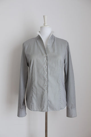 ETERNA PINSTRIPE GREY WHITE SHIRT - SIZE 12