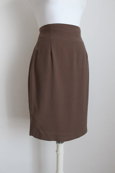 VINTAGE BROWN FITTED PENCIL SKIRT - SIZE 10