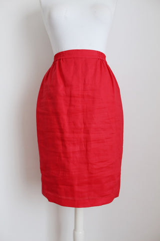 VINTAGE *JM GOULBOURN COLLECTABLES* LINEN RED SKIRT - SIZE 10