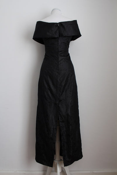 VINTAGE BLACK OFF THE SHOULDER EVENING DRESS - SIZE 6