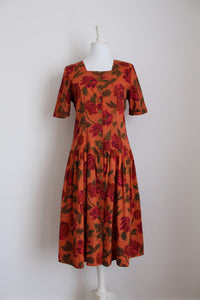 VINTAGE ORANGE FLORAL PRINT TIE BACK DAY DRESS - SIZE 12