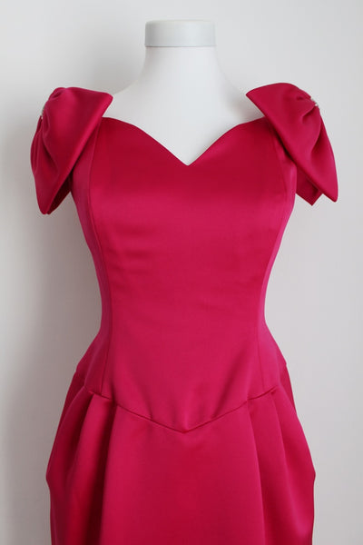 VINTAGE MORTON MYLES DESIGNER PINK SATIN COCKTAIL DRESS - SIZE 8