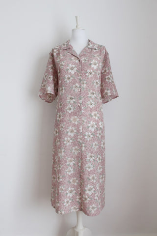 VINTAGE DUSTY PINK FLORAL PRINT DAY DRESS - SIZE 18