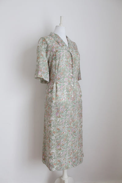 VINTAGE SAGE GREEN FLORAL PRINT DAY DRESS - SIZE 18