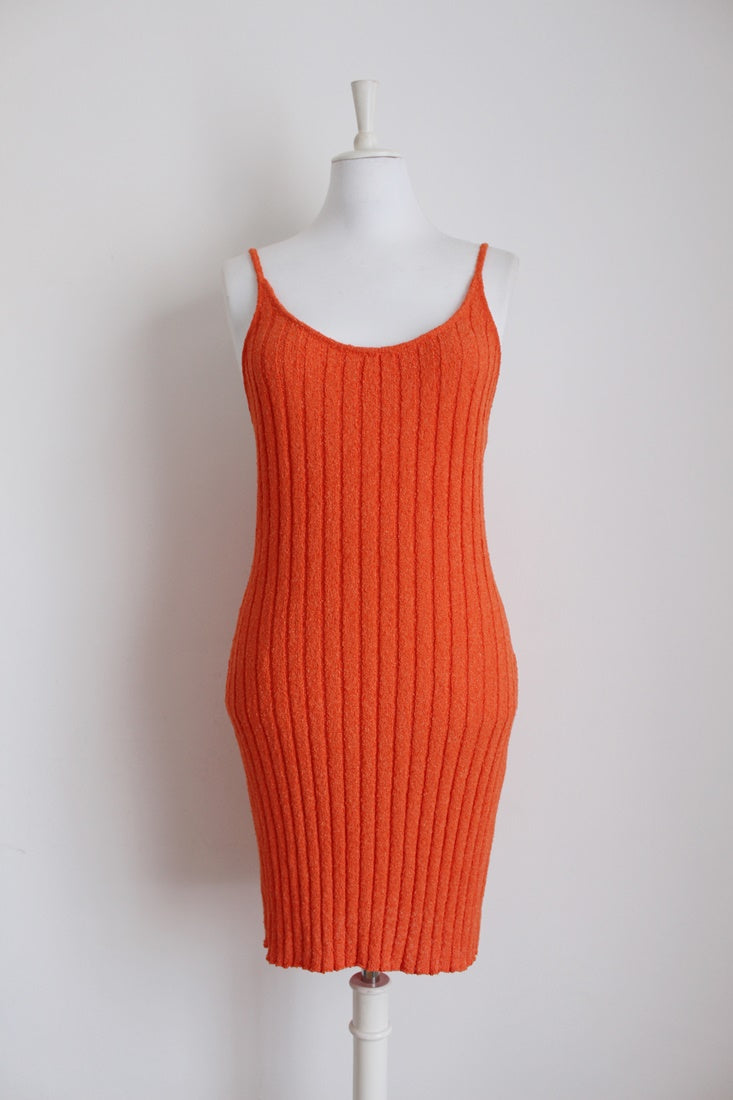 *MOSCHINO JEANS* DESIGNER VINTAGE ORANGE KNIT DRESS - SIZE XL