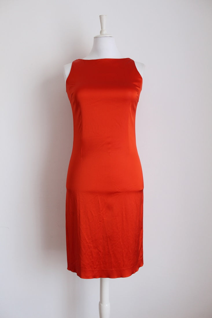 *L.K. BENNETT* DESIGNER VINTAGE ORANGE SATEEN DRESS - SIZE 10