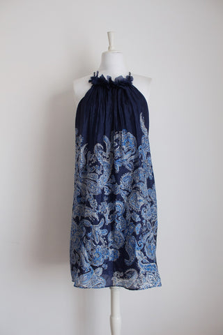 100% SIK ZARA WOMAN BLUE FLORAL DRESS - SIZE M