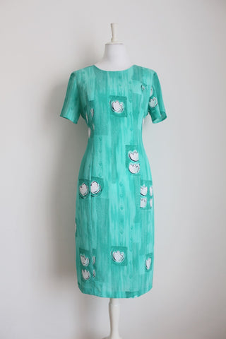 VINTAGE MINT GREEN FLORAL FITTED SHIFT DRESS - SIZE 12