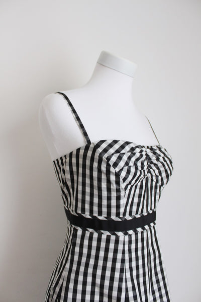 *KAREN MILLEN* DESIGNER BLACK WHITE GINGHAM DRESS - SIZE 8