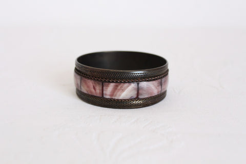 VINTAGE MOTHER OF PEARL PINK INLAY BANGLE