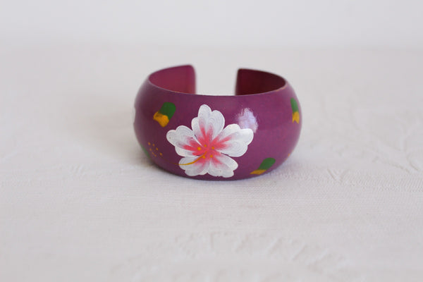 VINTAGE HAND PAINTED PURPLE FLOWER WOOD BANGLE