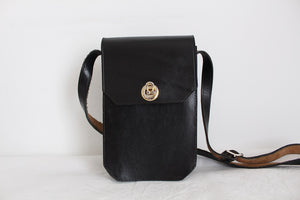 VINTAGE THICK GENUINE LEATHER BLACK SLING BAG