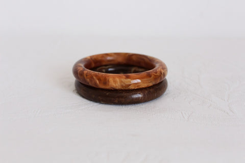 SET OF VINTAGE BAKELITE BROWN MARBLED BANGLES