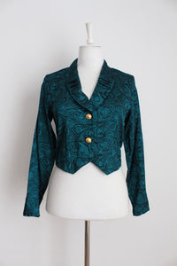 VINTAGE TEAL CROPPED BLOUSE - SIZE 8