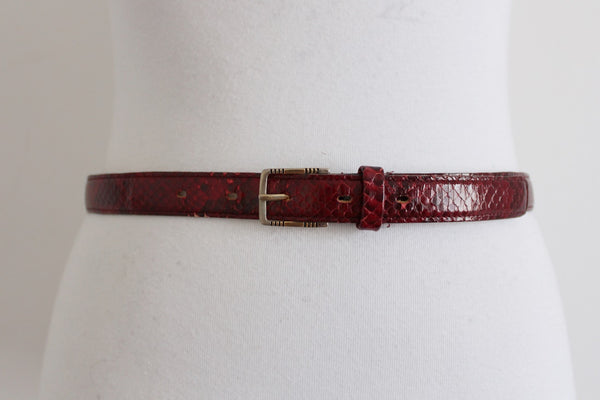 *GENUINE SNAKE SKIN* PIERRE CARDIN VINTAGE RED LEATHER BELT