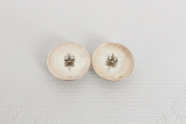 STERLING SILVER VINTAGE DOME STUD EARRINGS