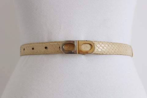 *GENUINE SNAKE SKIN* VINTAGE CREAM LEATHER BELT