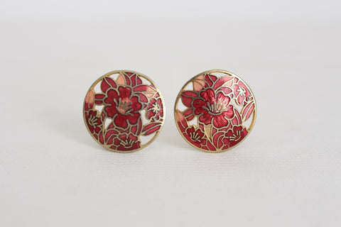 VINTAGE ENAMEL CLOISONNE RED CIRCLE EARRINGS