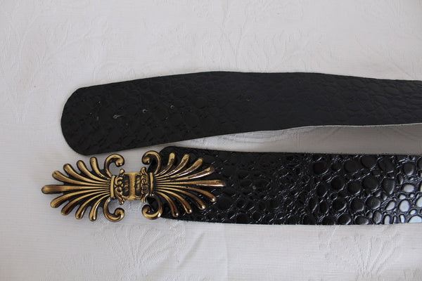 VINTAGE CROC PRINT GENUINE LEATHER BLACK BELT