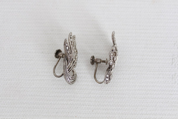 VINTAGE MARCASITE SILVER PLATED SCREW BACK EARRINGS