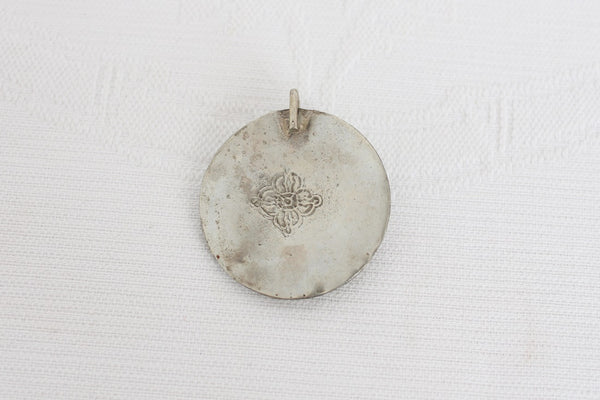 VINTAGE EASTERN SILVER PLATED INLAY PENDANT