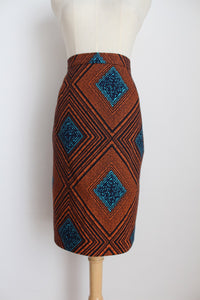 AFRICAN PRINT COTTON PENCIL SKIRT - SIZE 12