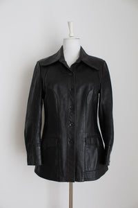 GENUINE LEATHER VINTAGE BLACK TAILORED JACKET - SIZE 10
