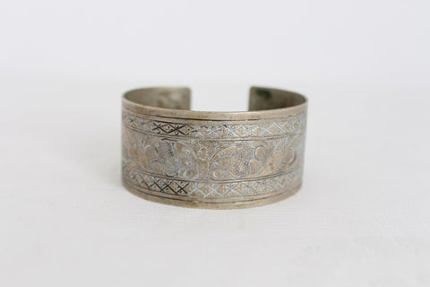 VINTAGE ETCHED SILVER PLATED CUFF BANGLE