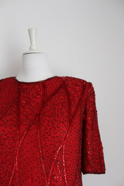 VINTAGE 100% SILK BEADED RED EVENING TOP - SIZE 12