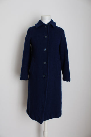 VINTAGE WOOL NAVY BLUE WATER REPELLENT COAT - SIZE 6