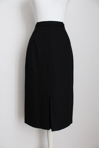 VINTAGE WOOL BLACK HIGH WAIST SKIRT - SIZE 4