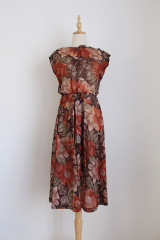 VINTAGE FLORAL BROWN TIE WAIST DRESS - SIZE 8