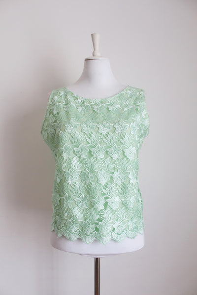 VINTAGE MINT LACE OVERLAY FLORAL SLEEVELESS TOP - SIZE 16