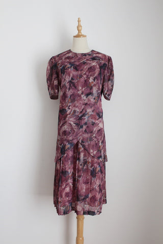 VINTAGE MAUVE ASYMMETRICAL DROP WAIST DRESS - SIZE 12