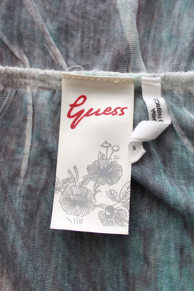 GUESS JEANS SHEER OPEN BACK PRINTED TOP - SIZE S
