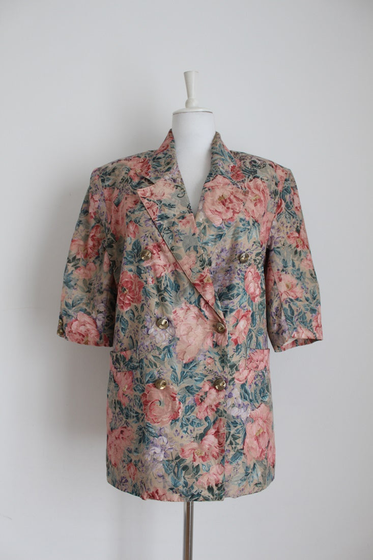 VINTAGE FLORAL BROCADE DOUBLE BREASTED JACKET - SIZE 12