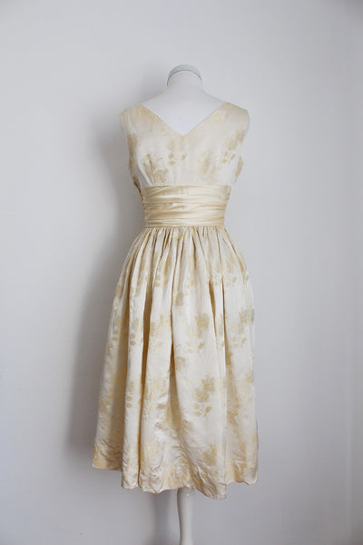 VINTAGE SATIN EMBROIDERY CREAM WEDDING DRESS - SIZE 8