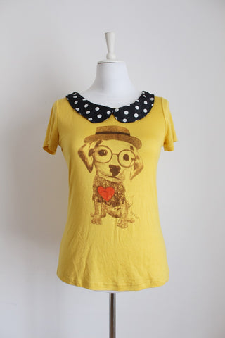 VINTAGE STYLE HIPSTER PUPPY PRINT T-SHIRT - SIZE 8