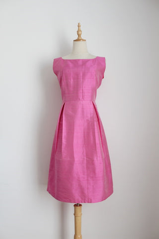 100% SILK PINK COCKTAIL DRESS - SIZE 10
