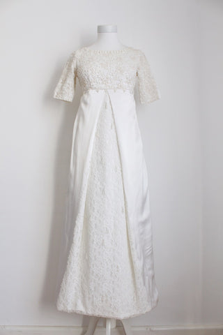 VINTAGE BEADED WHITE SATIN EMPIRE WEDDING DRESS - SIZE 8